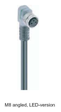 Cablu senzor cu terminal in unghi V1-3/W/P/PNP/2L/2m