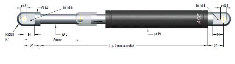 Gas spring ACE 19/8, cursa 200mm, cod GS-19-200