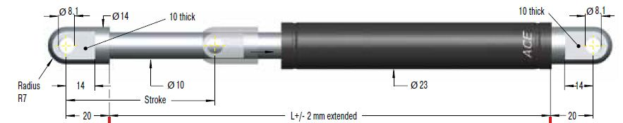 Gas spring ACE 22/10, cursa 250mm, cod GS-22-250