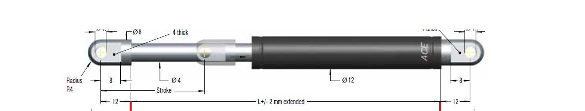 Hydraulic damper ACE 12/4, cursa 70mm, cod HB-12-70
