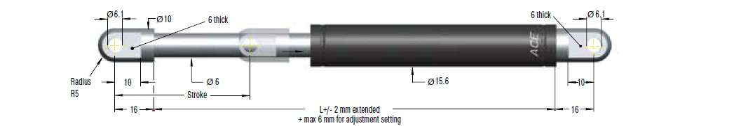 Hydraulic damper ACE 15/6, cursa 75mm, cod HB-15-75