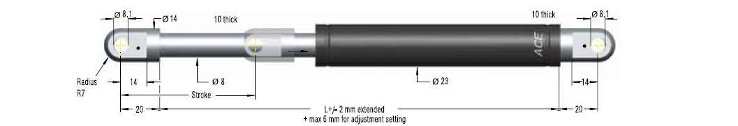 Hydraulic damper ACE 23/8, cursa 150mm, cod HB-22-150