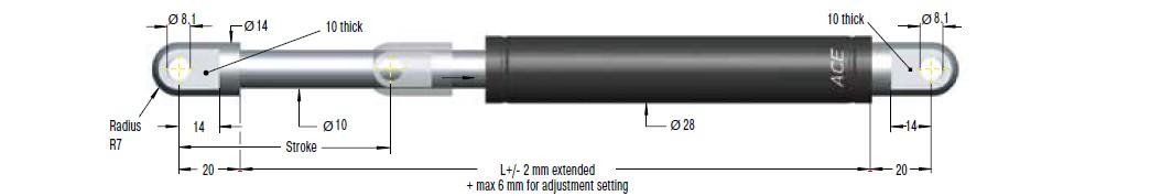 Hydraulic damper ACE 28/10, cursa 100mm, cod HB-28-100